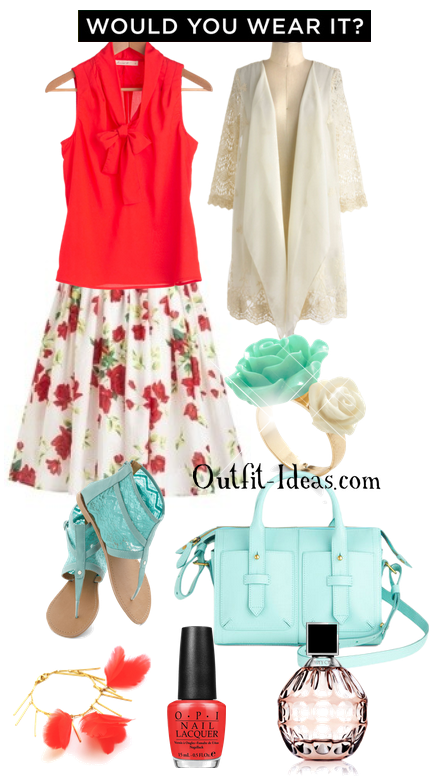 Casual Outfit – Cherry Top with floral print skirt and blue summer boots