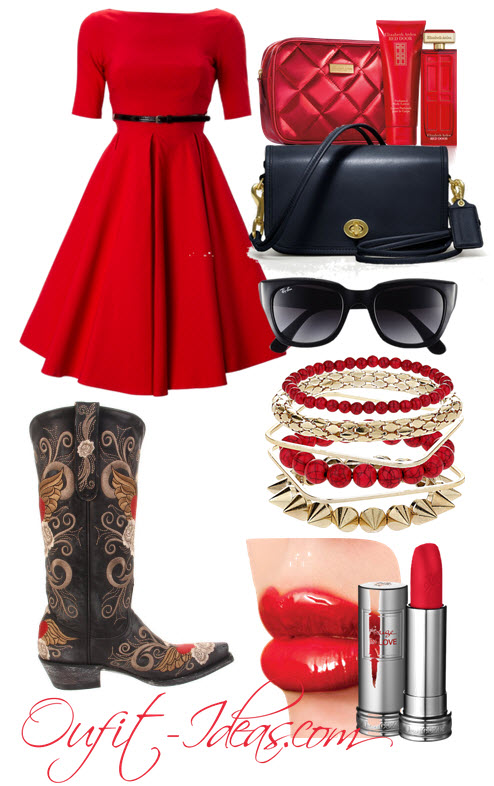 Red Vintage Dress with Old Gringo Boots
