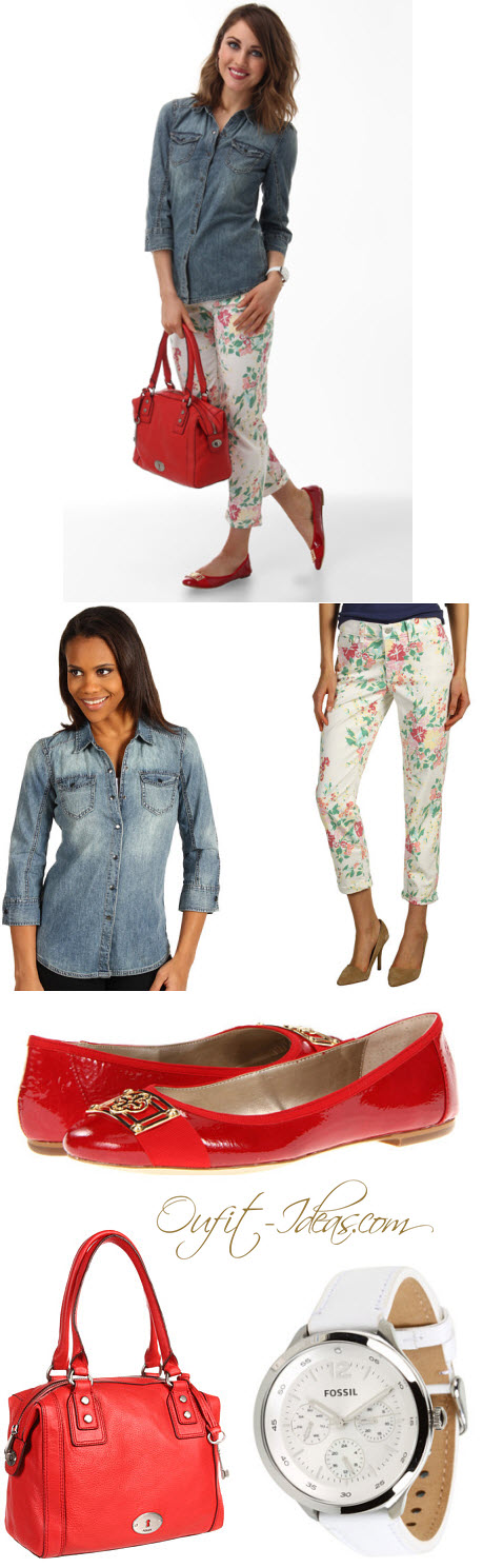 Denim shirt Outfit with printed pants-perfect for a lovely spring day