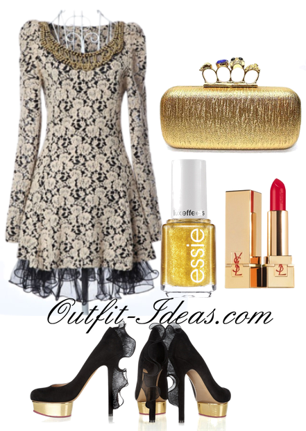 Gold and Black Vintage Outfit - Buy at OASAP