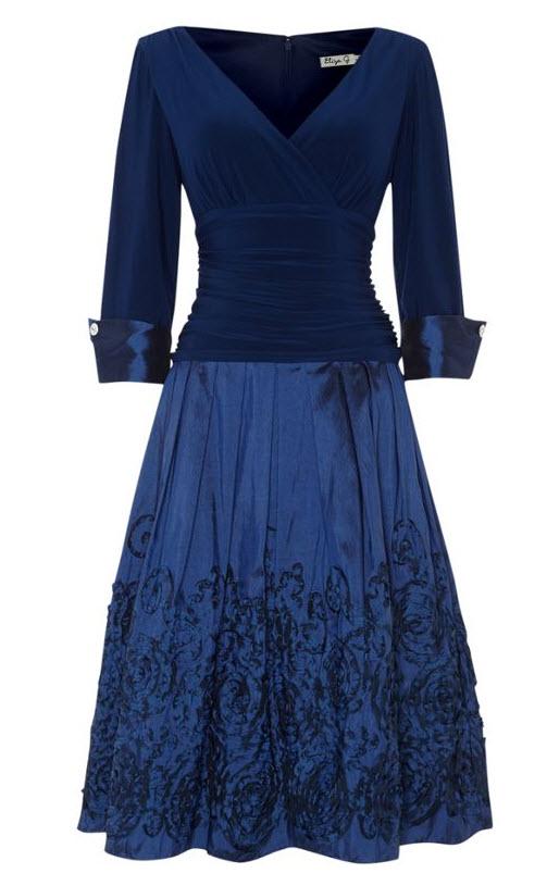 Cobalt Cocktail Dresses-Eliza J Embroidered Hem Cuff Dress