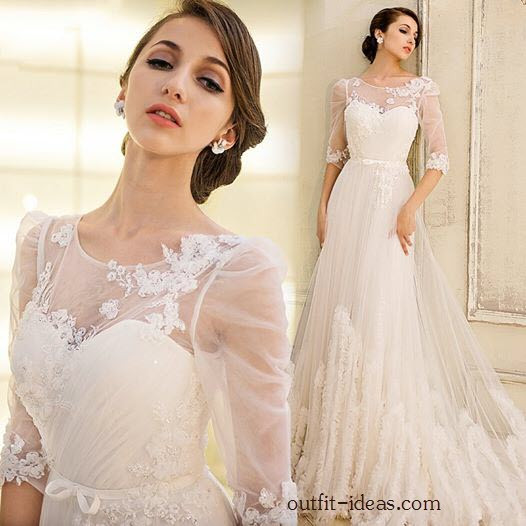 Fancy Half Sleeves Appliques Scoop Neck A-Line Wedding Dress