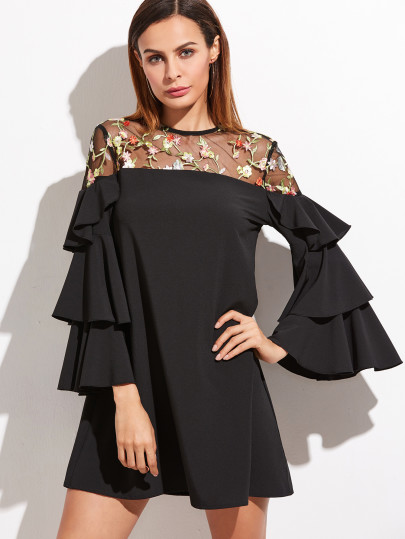 Black Floral Embroidered Mesh Shoulder Layered Ruffle Sleeve Dress