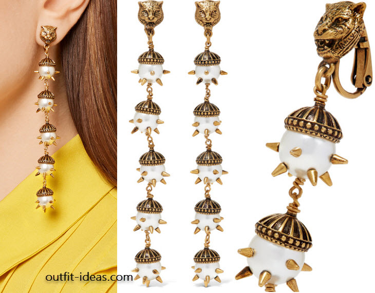 Gucci Gold-plated faux pearl clip earrings
