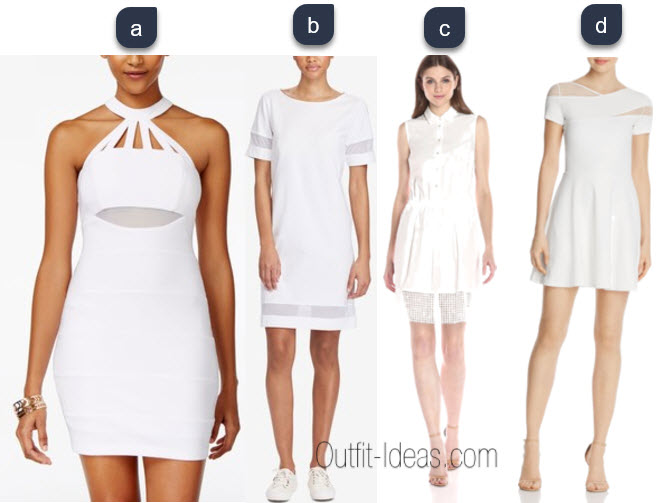 White dress with mesh inserts